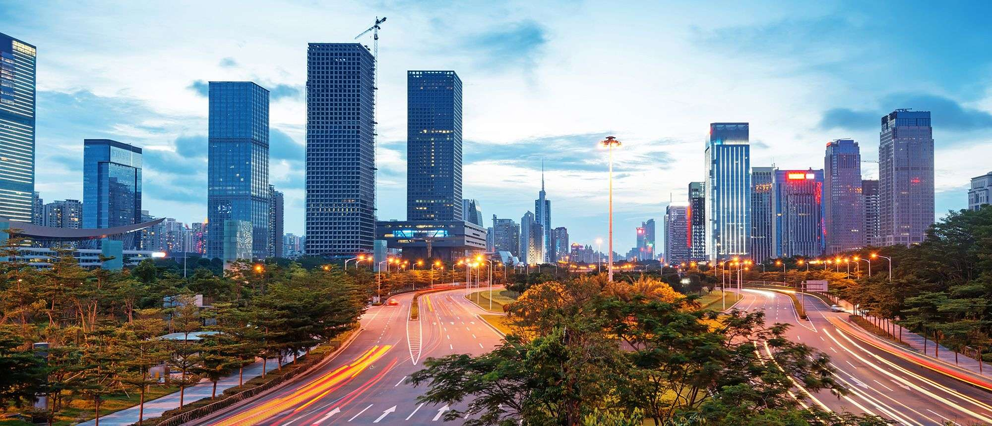 A view of buildings and roads Guangdong city