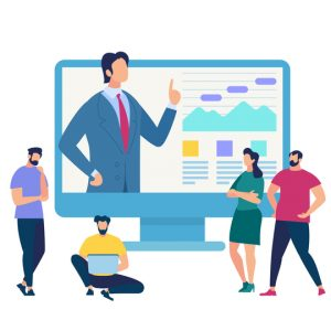 Business Training Event, Remote Corporate Teaching, Meeting Learn People Webinar Online Manager Conference at Computer. Leadership Finance Employee Training Session Cartoon Flat Vector Illustration