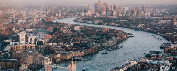 A panoramic view of the city of London.